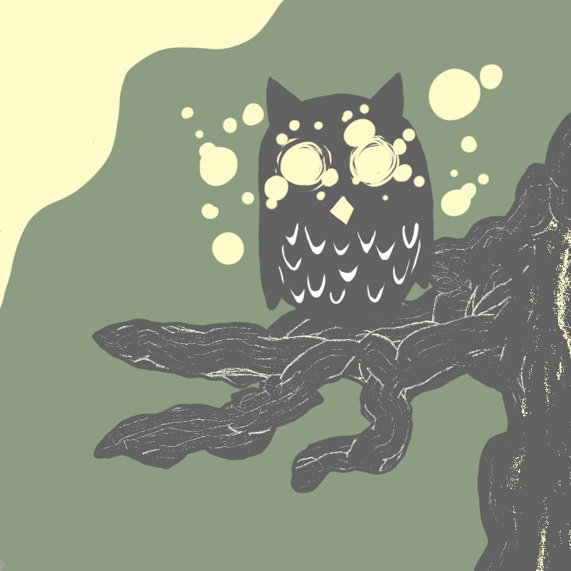 ハロウィンのお化けとイラスト~フクロウ~