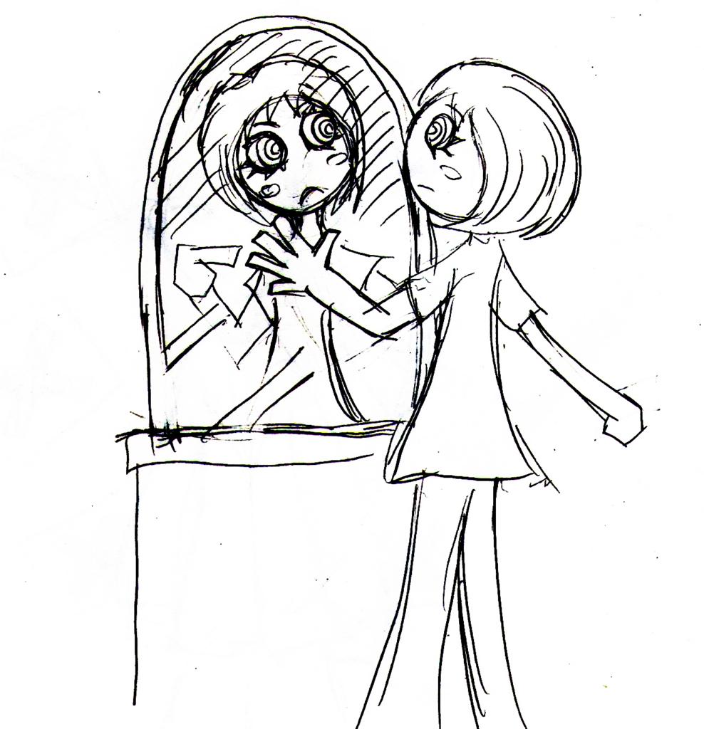 鏡の中の自分のイラスト