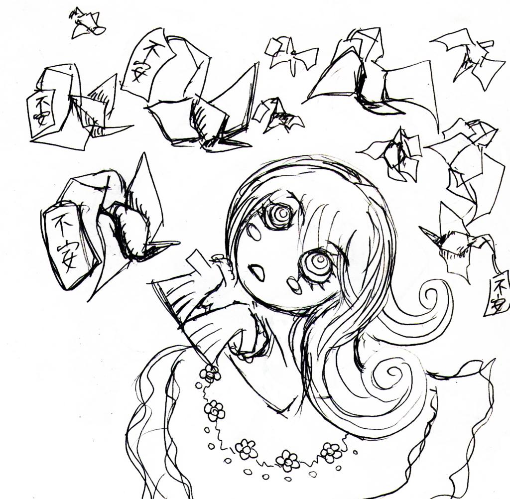 不安を捨てる女の子のイラスト