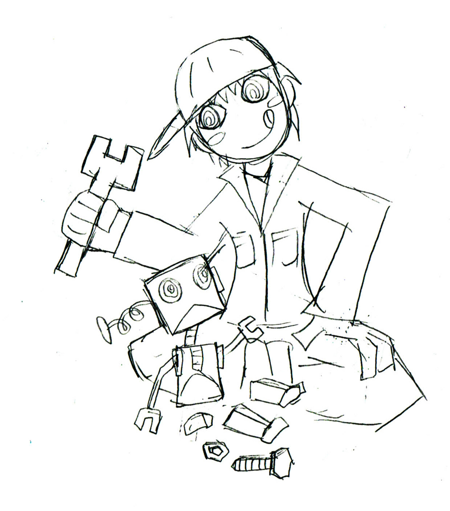 機械を弄る少年のイラスト