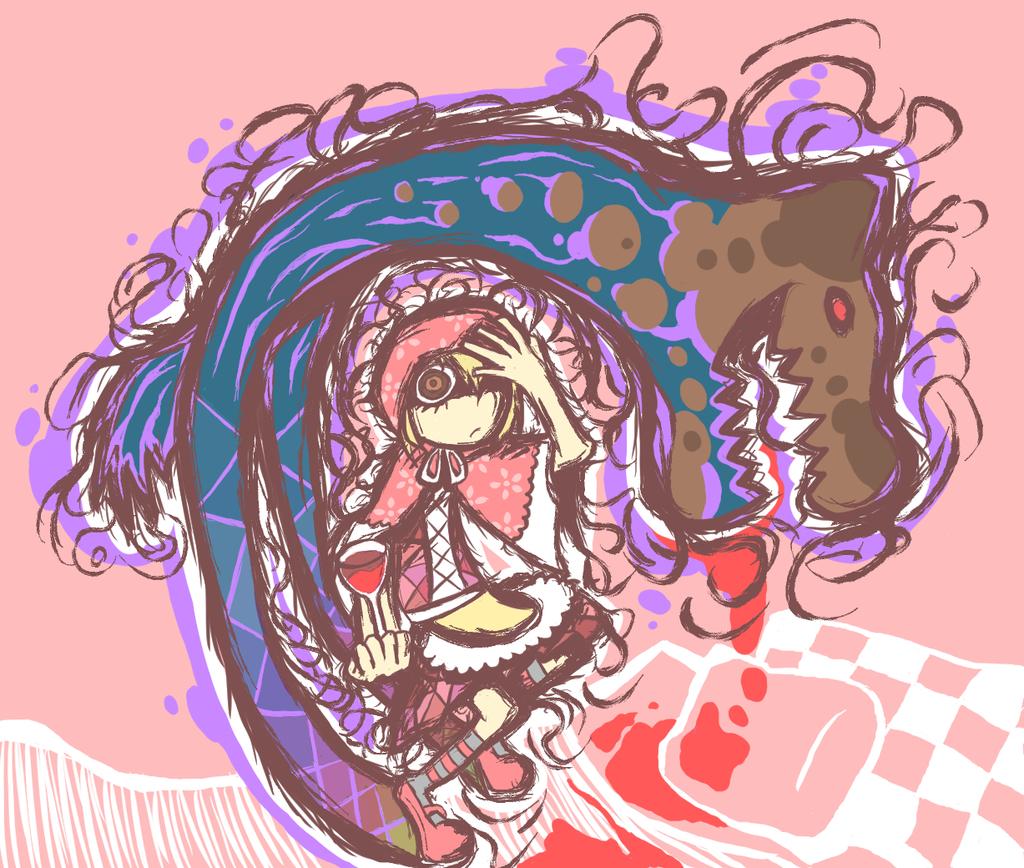 怖い赤ずきんのイラスト